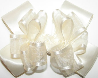 Girls Hair Bow, Ivory Hair Clip, Organza Satin Ribbon Bows, Baby Alligator Clips, Toddler Accessories, 3 Inch Bows, Flower Girl Barrette