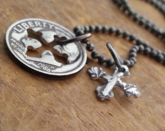 Mother's Day Dime Cross Necklace Mother's Day Gift Coin Jewelry Made From a U.S. Dime Pick a Year Gift for Mom