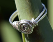 Wire Wrapped Ring, Sterling Silver Ring, Patina or Shiny, Spiral Swirl, Wire Ring, Customizable, Jewelry, 18 ga Wire