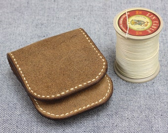Hand Stitching Horween  Chromexcel  Leather Rough-out Coin case/Pouch/Purse