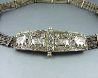 Silver old  belt from Rajasthan, India, tribal ethnic belt, rajasthan jewellery, belly dance belt