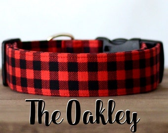 "Red & Black Lumberjack Mini Buffalo Plaid Dog Collar ""The Oakley"""