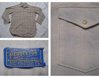 Vintage Retro Men's 60's Pendleton Tan Blue Plaid Pure Virgin Wool Long Sleeve Buttonup Shirt Large 16