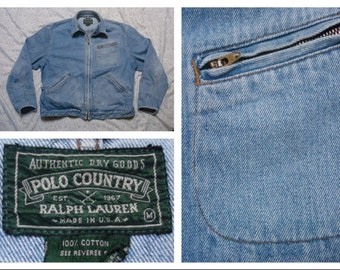 Vintage Retro Men's 90's Polo Country Ralph Lauren Denim Jacket Light Blue Jean Jacket Medium Made in the USA