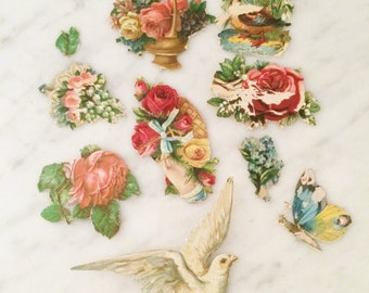 Antique Stickers, Victorian Ephemera, Pink Roses, Valentines Decor, Authentic Victorian Era, Lithograph Stickers