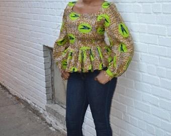 African peplum Shirt, African women clothing, African Blouse, African Print, Ankara women clothing, African Peplum Top, African Clothing
