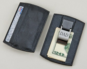 Personalized Black Money Clip Card Holder Clip & Credit Card Holder Engraved Free