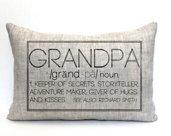 "christmas gift, grandpa pillow, gift for him, grandparent gift, new parents pillow, christmas gift - ""The Grandpa"""