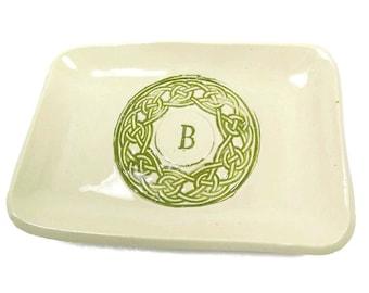 Celtic Knot Dish, Initial Celtic Plate, Irish Housewarming, Irish Plate, Irish Decor, Celtic Pottery, Irish Kitchen,  St. Patrick's Day Gift