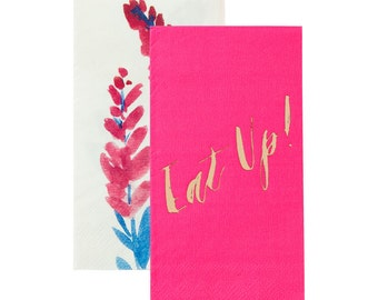 Fluorescent Floral Duo Napkin Gold Foil with Eat up