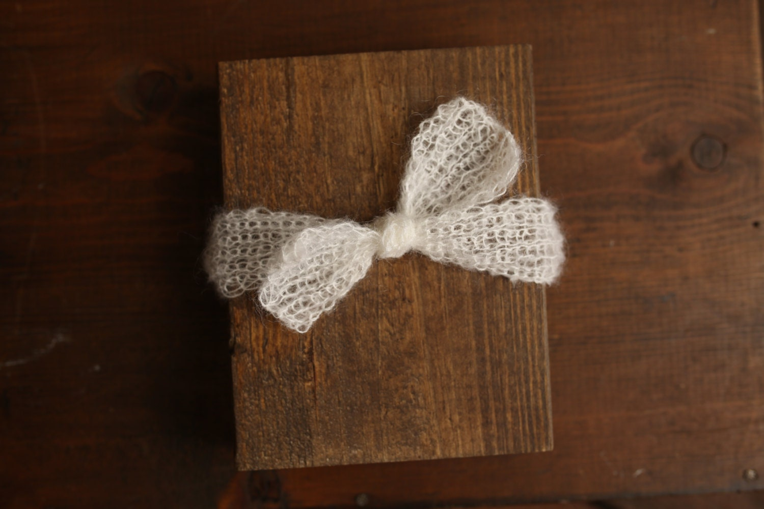 Ivory Mohair Top Knot Knit Headband Adjustable Newborn to