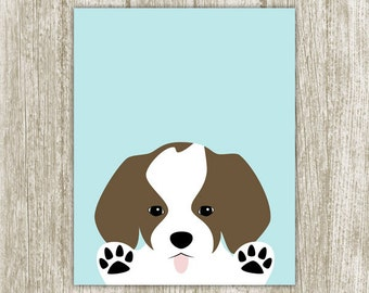 Puppy Instant Digital Download, 8x10, Dog Print Wall Art, Cute Puppy Printable, Nursery Art, Sky Blue Brown White Baby Nursery Wall Decor