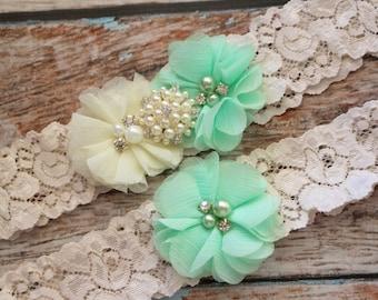 Your Color ,Mint Wedding Garter Set , Wedding Garter , Ivory Garter , Garter , Toss Garter , Lace Garter Set , Bridal Garter