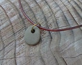 Grey Beach Pebble Leather Cord Necklace - Drilled Zen Stone Jewelry