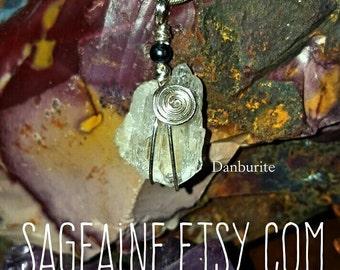 SageAine: Danburite Quartz Crystal Black Pearl Pendant, Angelic Connection,Third Eye and Crown Chakras, High Vibration, Heart Healer