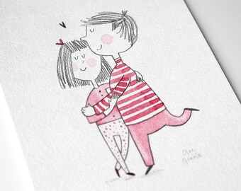 Gift for couple wall decor Couple portrait Love wall decor Love art Love illustration Gift for him Gift for her Valentine day Rendezvous art