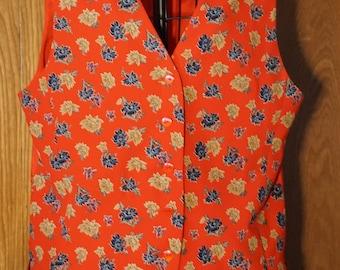 Liz Claibourne Collection, vintage red-orange vest with floral pattern.