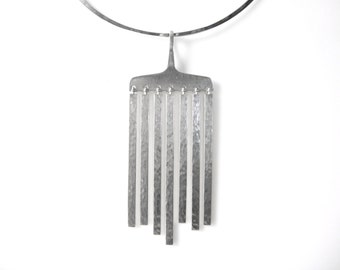 Hans Hansen Sterling Silver Chime Drop Pendant Made In Denmark On Sterling Silver Collar Choker Necklace Made In Poland