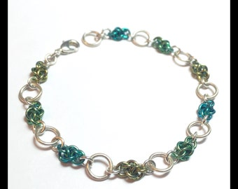 Ombre Sterling Silver Chainmaille Bracelet - Four Winds - Cloud - Gold and Green and Blue