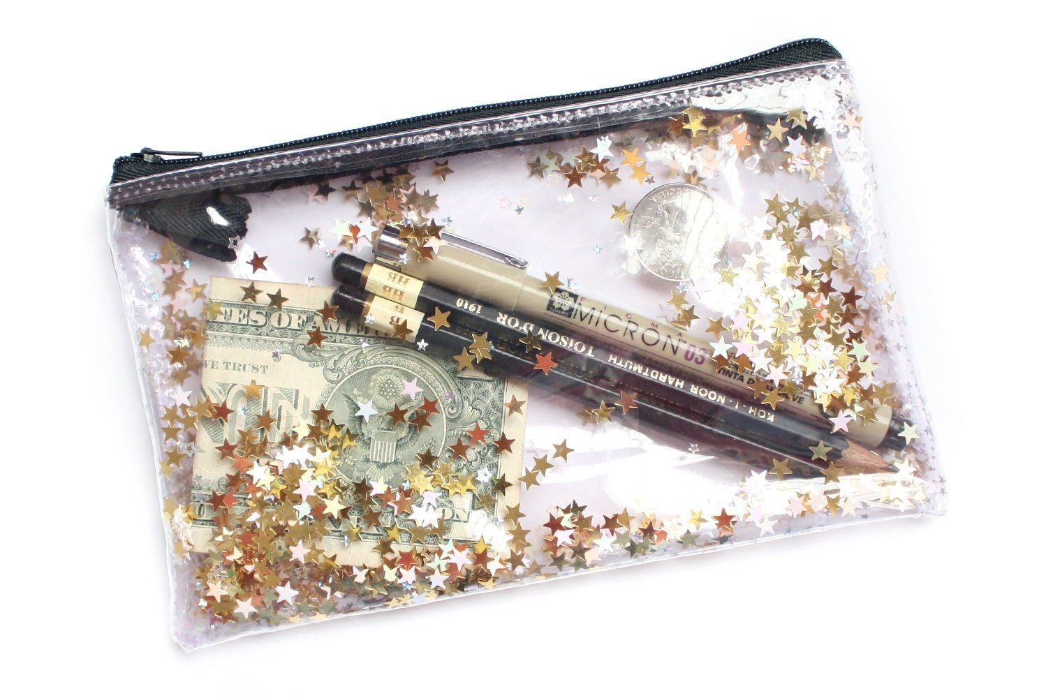 Golden Star Pencil Case Transparent Wallet Clear Bag By