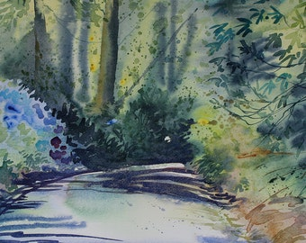 Original watercolour landscape of Cornwall Gardens, mounted watercolor, Trengwainton Gardens, trees and path, summer painting