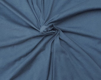 """Dusty Blue Cotton Fabric Jersey Knit by the Yard 61"""" W 6/16"""