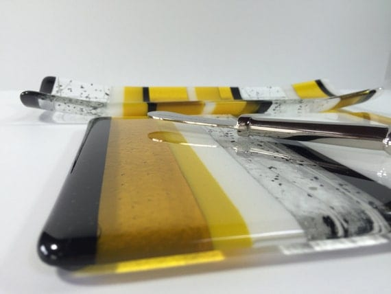 Yellow Fused Glass Serving Set - Yellow Cheese Plate - Yellow Serving Dish