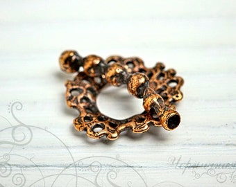 Bronze Toggle Clasp - Handmade Toggle - Natural Clasp - Aged Toggle - Handmade Findings (3036(1). Holes, round, bubbles
