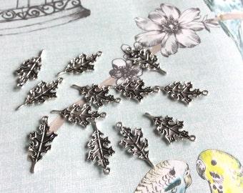 Antique Silver Oak Leaf Charms x 12