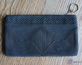 40s Black Cord Woven Clutch Purse Wallet
