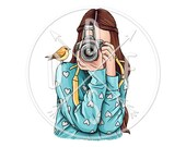 A0104_blue - Girl in Sweatshirt, Retro Photo Camera, Bird - Digital Print, Instant Download. Printable Illustration. PNG/JPG files 8x10''.
