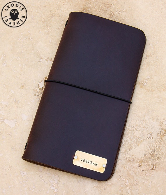 Leather Midori Traveller's Notebook Cover (Dark Brown Horween CXL with Veritas Plate)