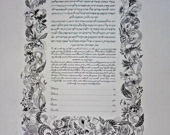 black and white flowers and vines rectangle ketubah.
