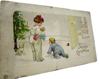 Adorable Antique Edwardian Joyous Christmas Postcard With Big Sister and Little Brother on Christmas Morning Before Mom and Dad Wake Up