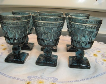 Set Of Six Vintage footed Wine Glasses 1970