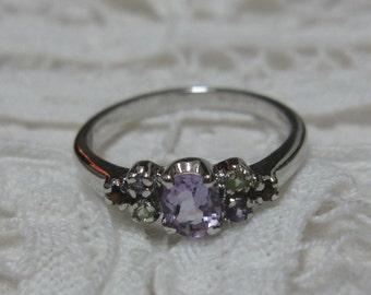 Dainty Multi-Gemstone Sterling Ring Size 6