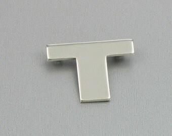Vintage MONET Silvertone Initial 'T' Brooch. Signed MONET Brooch.  Initial Jewelry. Designer Signed Pin