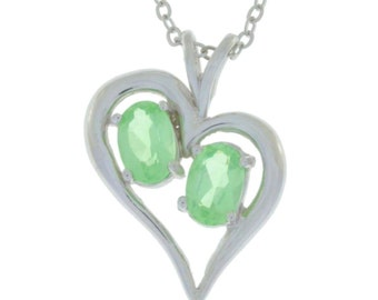 Green Sapphire Oval Heart Pendant .925 Sterling Silver