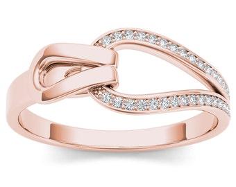 10Kt Rose Gold Diamond Knot Ring