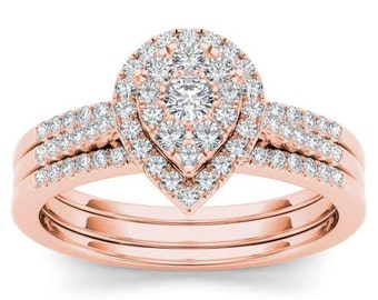 10Kt Rose Gold Diamond Engagement 0.50 Ct Bridal Set Ring