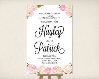 Wedding Welcome Sign, Large Mounted Wedding Poster, Reception Sign, Ceremony Sign, Whimsical Boho Floral, Printable Wedding Sign (P1) Rosie