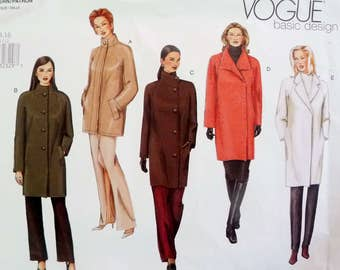 Vogue 2472 Basic Coat Sewing Pattern, Hip or Knee Length, A Line, Loose Fitting, Asymmetrical Button, Side Pockets, Sizes 12 14 16 UNCUT
