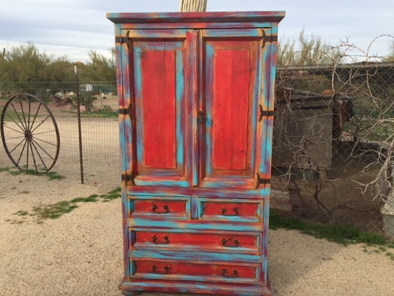 Items similar to SOLD--Wood distressed armoire, turquoise ...