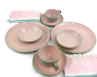 2 Shell Pink Harkerware 4 piece Dinnerware Place Settings