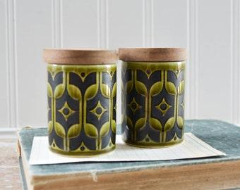 Vintage Hornsea Salt and Pepper Shakers Set - Heirloom Olive Green Black