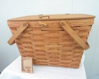 MOVING SALE Longaberger Large Picnic Basket.  1987 Handmade Large Picnic Basket with Riser and Liner.