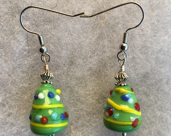Decorated Christmas Tree Earrings