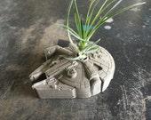 Small Millennium Falcon Concrete Planter - Includes Air Plant - Paperweight - Star Wars