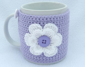 Lilac and white crochet mug cozy