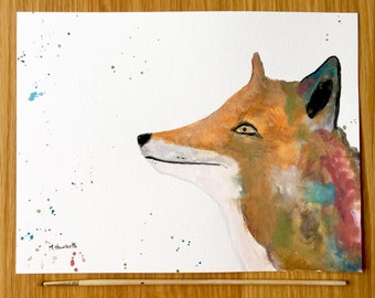 Fox watercolour painting fox original artwork fox animal art fox illustration woodland animal art nursery art 12 X 9 inches